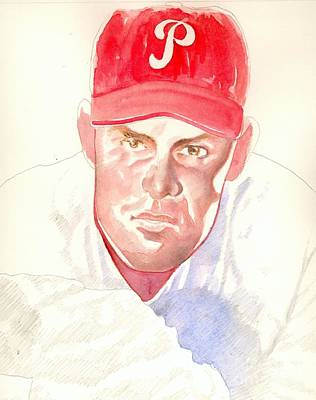 Phillies Drawing - Robin Roberts In Progress by Robert  Myers