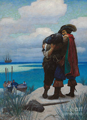 Tears Drawing - Robinson Crusoe Saved by Newell Convers Wyeth
