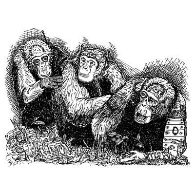 Monkeys Drawing - Robo Chimps by Karl Addison