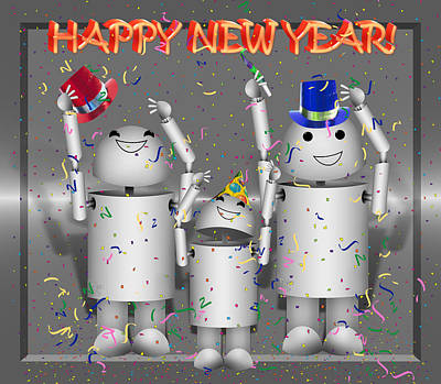 Robo-x9 Mixed Media - Robo-x9 New Years Celebration by Gravityx9  Designs