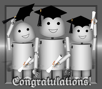 Robo-x9 Mixed Media - Robo-x9 The Graduates by Gravityx9  Designs