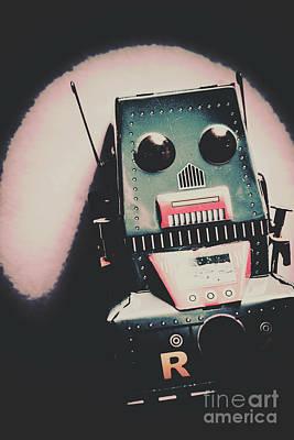 Robotic Mech Under Vintage Spotlight Print by Jorgo Photography - Wall Art Gallery