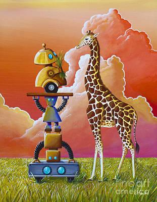 Robots On Safari Print by Cindy Thornton
