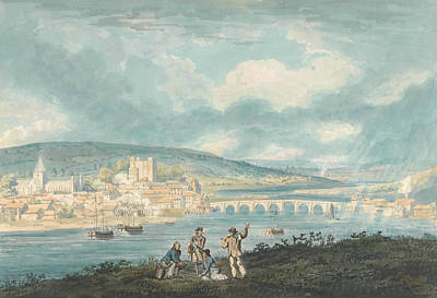 18th Century Painting - Rochester, Kent- From The North by Thomas Girtin