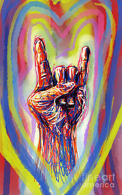 Hands Of Love Drawing - Rock And Roll by Robert Yaeger