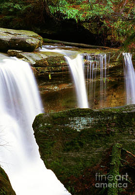Rock And Waterfall Print by Thomas R Fletcher