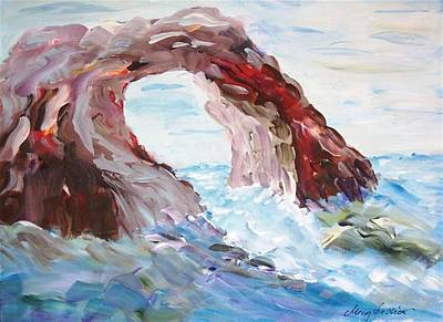 Original Painting - Rock In The Mediteranean by Mary Sedici