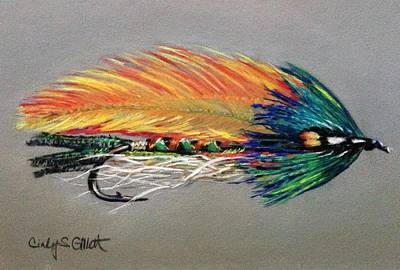 Streamer Painting - Rock Island Featherwing Streamer by Cindy Gillett
