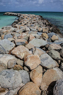 Rock Jetty Of The Caribbean Print by David Letts