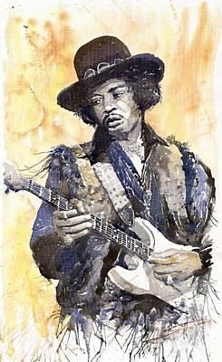 Guitar Painting - Rock Jimi Hendrix 01 by Yuriy  Shevchuk