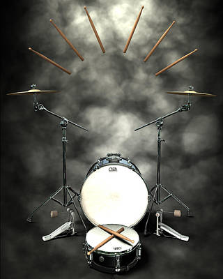 Rock N Roll Crest-the Drummer Original by Frederico Borges