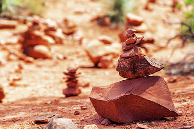 Rock Pile At Vortex In Sedona Arizona Print by Susan Schmitz