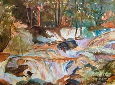 Yosemite Painting - Rock Strewn Waterfall by Ellen Levinson