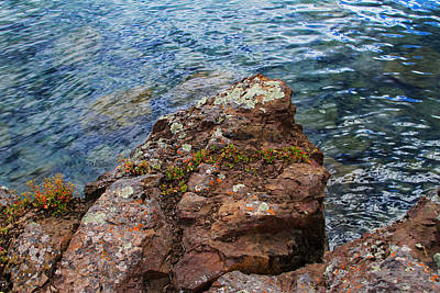 Rock With Face And Lichen Print by Bonnie Follett