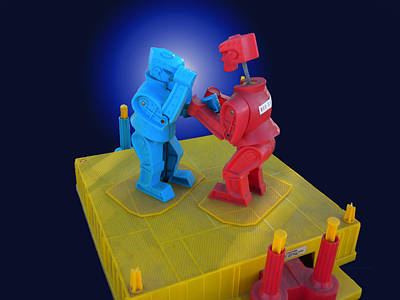 Rockem Sockem Robots Toy Print by Thomas Woolworth