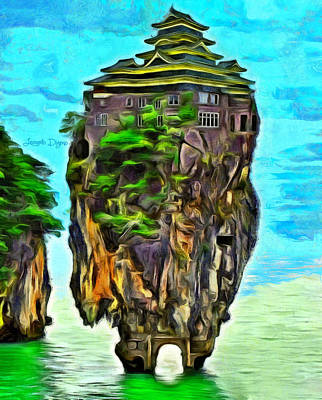 Castle Digital Art - Rockhouse Island - Da by Leonardo Digenio