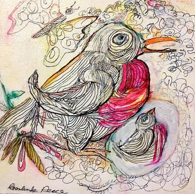 Baby Bird Mixed Media - Rockin Robin by Rosalinde Reece