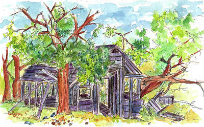 Ghost Towns Drawing - Rockland Cabin by Cathie Richardson