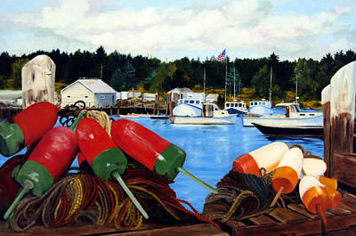Bouys Painting - Rockland Harbor by Laura Tasheiko