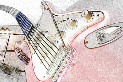 Aerosmith Digital Art - Rocknroller Coaster With Aerosmith Guitar Hollywood Studios Walt Disney World Prints Colored Pencil by Shawn O'Brien