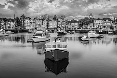 Iconic Photograph - Rockport Harbor Bw by Susan Candelario