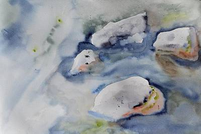 In Earth Tones Painting - Rocks In The Stream by Beverley Harper Tinsley