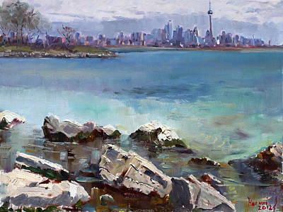 Skyline Painting - Rocks N' The City by Ylli Haruni