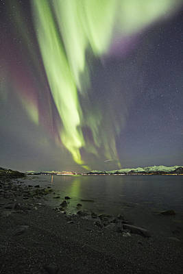Aurora Photograph - Rocky Beach by Frank Olsen