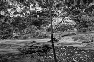 Rocky Broad River In Black And White Print by Randall Nyhof
