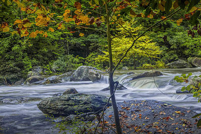 Rocky Broad River In October Print by Randall Nyhof
