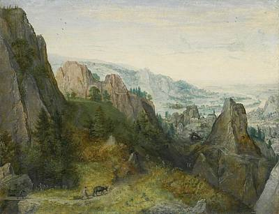 Yak Painting - Rocky Landscape With Travellers by Lucas van Valckenborch