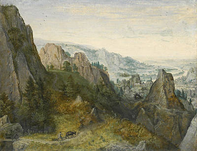 Painting - Rocky Landscape With Travellers On A Path With A View Of A Town Believed To Be Huy In The Valley Bey by Lucas van Valckenborch