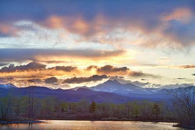 Majestic Photograph - Rocky Mountain April Springtime Sunset  by James BO  Insogna