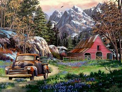 Then Painting - Rocky Mountain Ranch by Ron Chambers