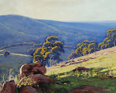 Tree Traditional Art Painting - Rocky Outcrop Near Bathurst by Graham Gercken