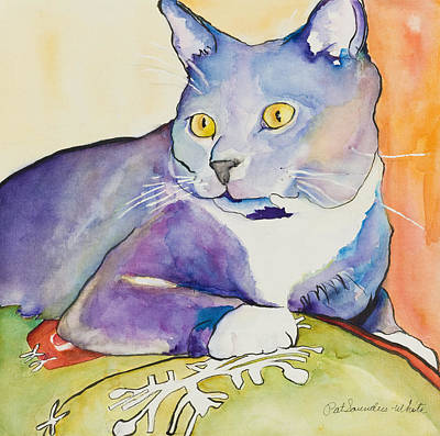 Cat Painting - Rocky by Pat Saunders-White