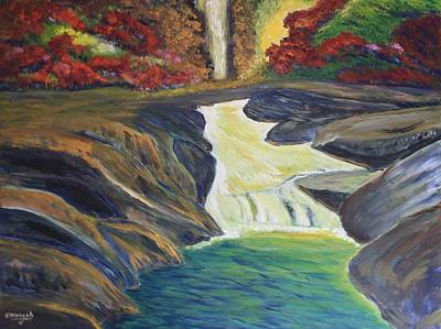 Canoe Waterfall Painting - Rocky River Falls by Edward Walsh