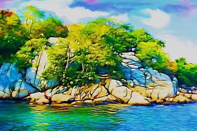 Plein Air Digital Art - Rocky Shore by Lilia D