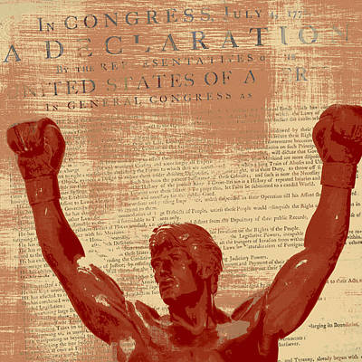 Philadelphia History Mixed Media - Rocky Statue Declaration Of Independence by Brandi Fitzgerald