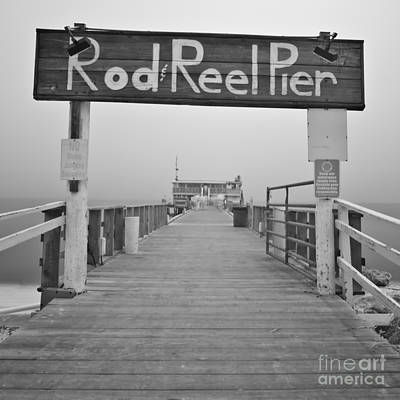 Rod And Reel Pier In Fog In Infrared 53 Print by Rolf Bertram