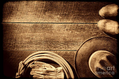Working Cowboy Photograph - Rodeo Background  by American West Legend By Olivier Le Queinec