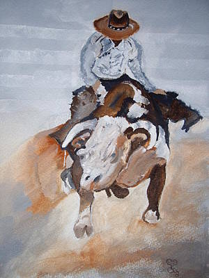 Steer Painting - Rodeo by Carole Robins