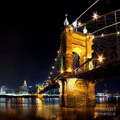 Ohio River Photograph - Roebling Brodge by Twenty Two North Photography
