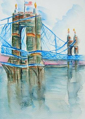 John Roebling Bridge Painting - Roebling On The Ohio River by Elaine Duras