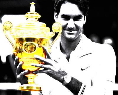 Australian Open Mixed Media - Roger Federer by Brian Reaves