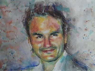 Roger Federer Painting - Roger Federer - Portrait 10 by Baresh Kebar - Kibar