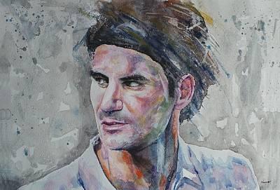 Roger Federer Painting - Roger Federer - Portrait 5 by Baresh Kebar - Kibar
