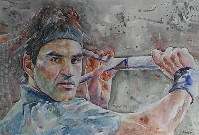 Roger Federer Painting - Roger Federer - Portrait 6 by Baresh Kebar - Kibar