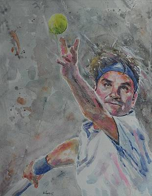 Roger Federer Painting - Roger Federer - Portrait 7 by Baresh Kebar - Kibar