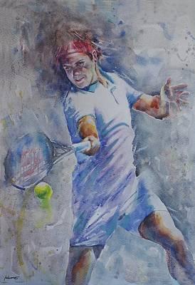 Roger Federer Painting - Roger Federer - Portrait 8 by Baresh Kebar - Kibar